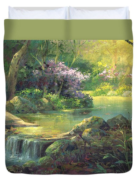 Duvet Cover featuring the painting The Quiet Creek by Michael Humphries