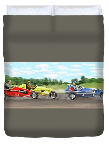 Duvet Cover featuring the digital art The Racers by Gary Giacomelli