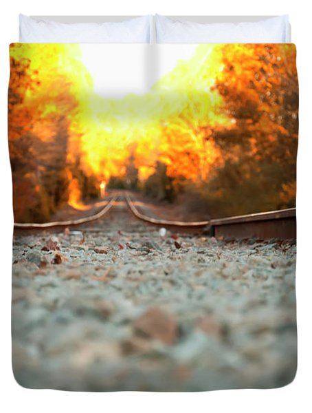Duvet Cover featuring the digital art The Railroad Tracks From A New Perspective by Chris Flees