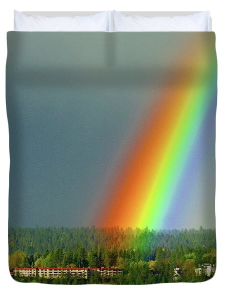 Duvet Cover featuring the photograph The Rainbow Apartments by Ben Upham III