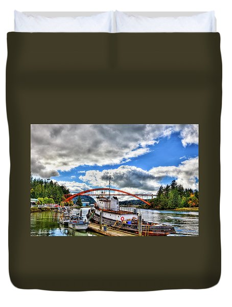 The Rainbow Bridge - Laconner Washington Duvet Cover by David Patterson