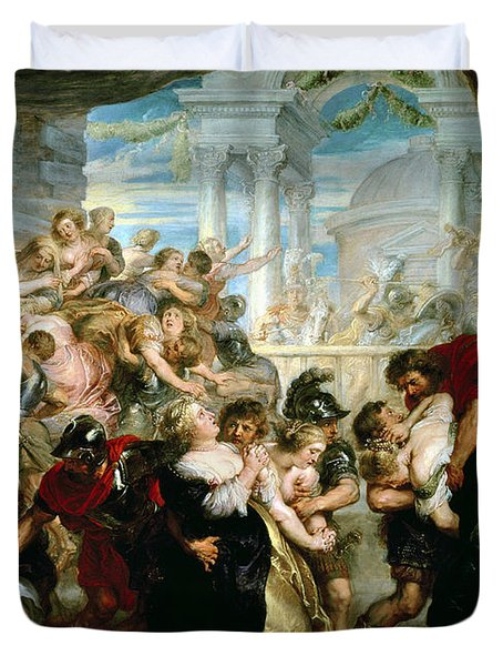 The Rape Of The Sabine Women Duvet Cover by Peter Paul Rubens