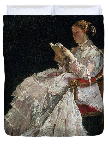 The Reader Duvet Cover by Alfred Emile Stevens