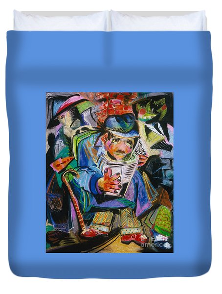 Duvet Cover featuring the painting The Reader by Donna Hall