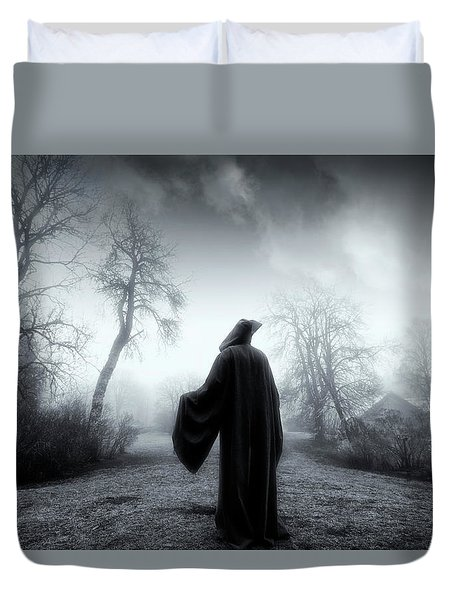 The Reaper Moving Through Mist And Fog Duvet Cover by Christian Lagereek