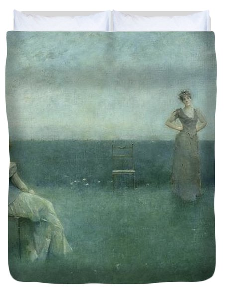 The Recitation Duvet Cover by Thomas Wilmer Dewing