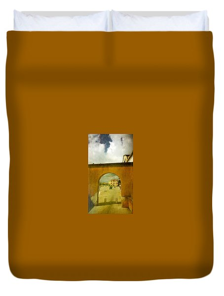 Duvet Cover featuring the photograph The Red Archway by Anne Kotan