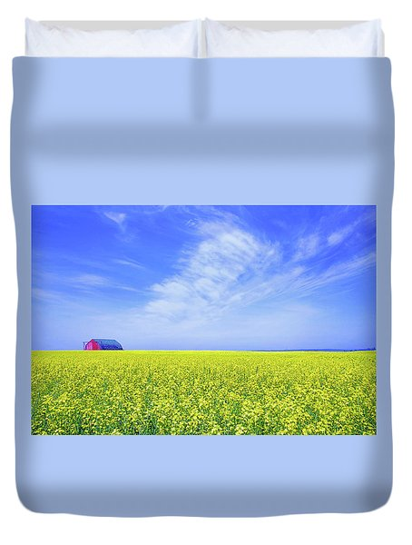 Duvet Cover featuring the photograph The Red Barn by Keith Armstrong