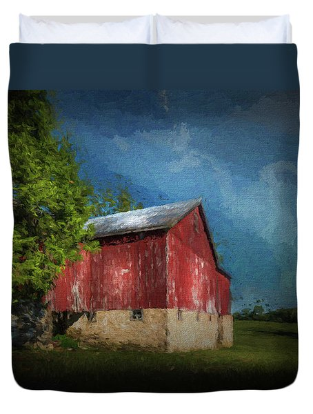 Duvet Cover featuring the photograph The Red Barn by Marvin Spates