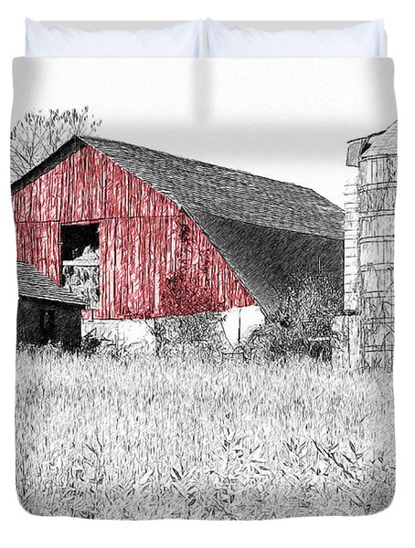 Duvet Cover featuring the photograph The Red Barn - Sketch 0004 by Ericamaxine Price