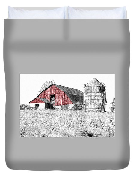 The Red Barn - Sketch 0004 Duvet Cover