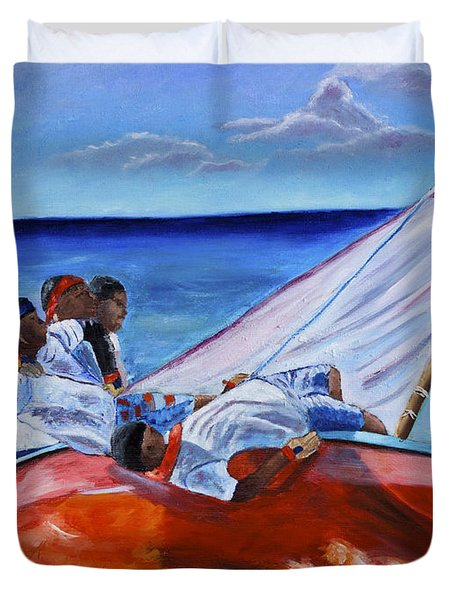 The Red Boat Duvet Cover