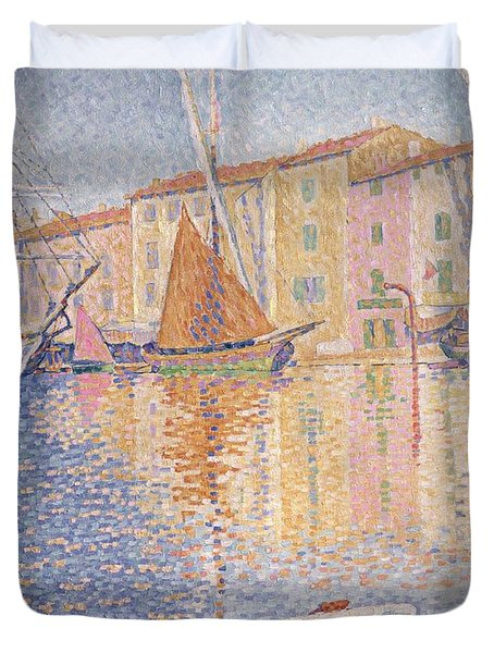 The Red Buoy Duvet Cover by Paul Signac