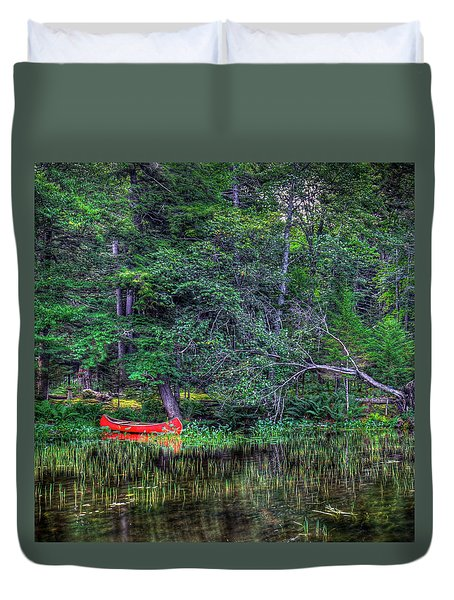 The Red Canoe Duvet Cover by David Patterson