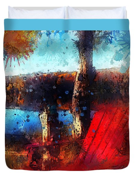 Duvet Cover featuring the photograph The Red Chair by Claire Bull