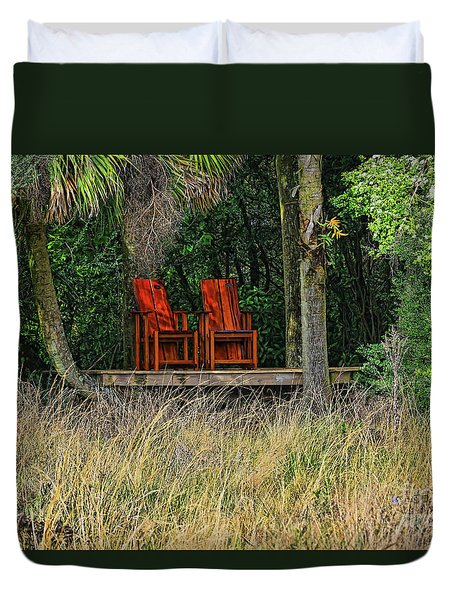 Duvet Cover featuring the photograph The Red Chairs by Deborah Benoit