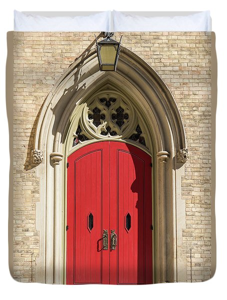 The Red Church Door. Duvet Cover