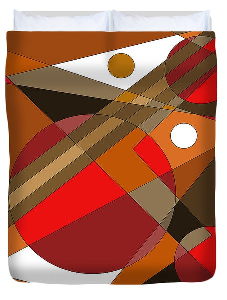 Duvet Cover featuring the digital art The Red Eye by Val Arie