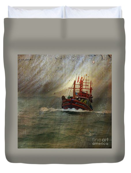 Duvet Cover featuring the photograph The Red Fishing Boat by LemonArt Photography