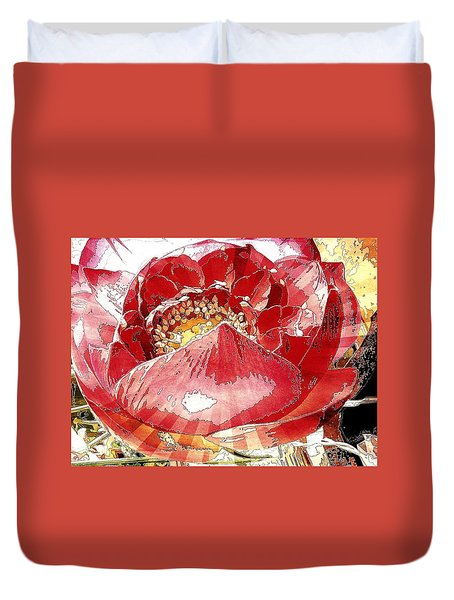 The Red Flower Blooms Duvet Cover