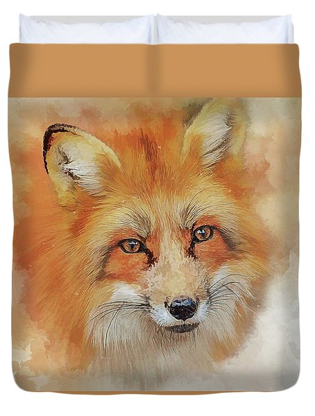 The Red Fox Duvet Cover by Brian Tarr