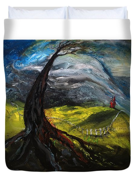 The Red House Duvet Cover by Antonio Ortiz