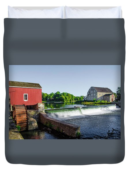 The Red Mill  On The Raritan River - Clinton New Jersey  Duvet Cover by Bill Cannon