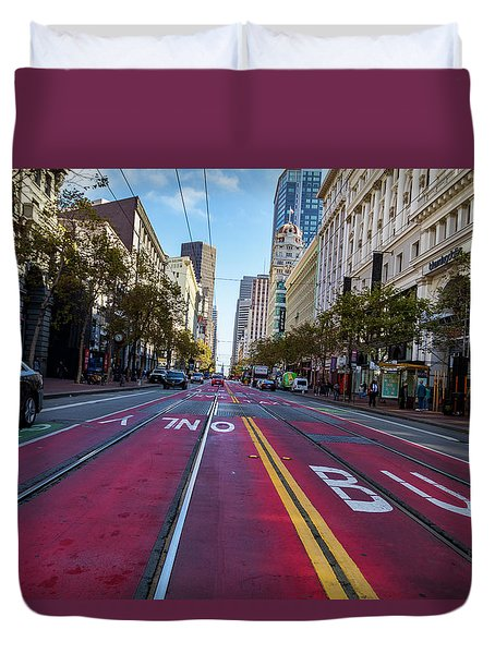 Duvet Cover featuring the photograph The Red Path by Darcy Michaelchuk