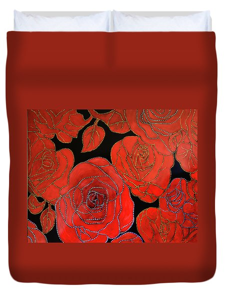 The Red Red Roses Duvet Cover