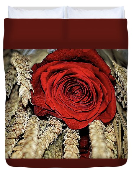 Duvet Cover featuring the photograph The Red Rose On A Bed Of Wheat by Diana Mary Sharpton