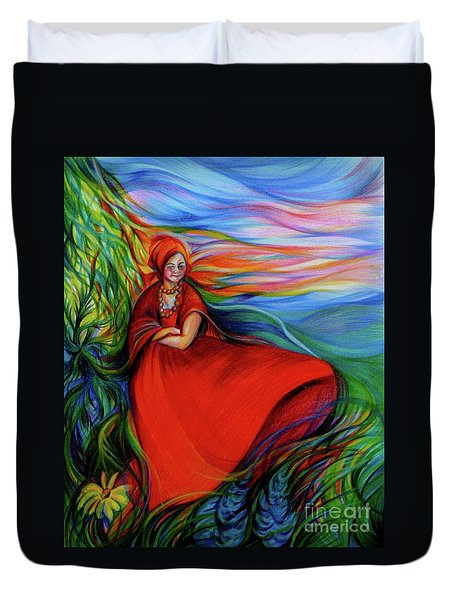 The Red Sarafan Of The Summer Duvet Cover by Anna  Duyunova