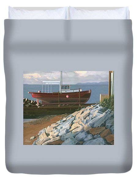 Duvet Cover featuring the painting The Red Troller Revisited by Gary Giacomelli
