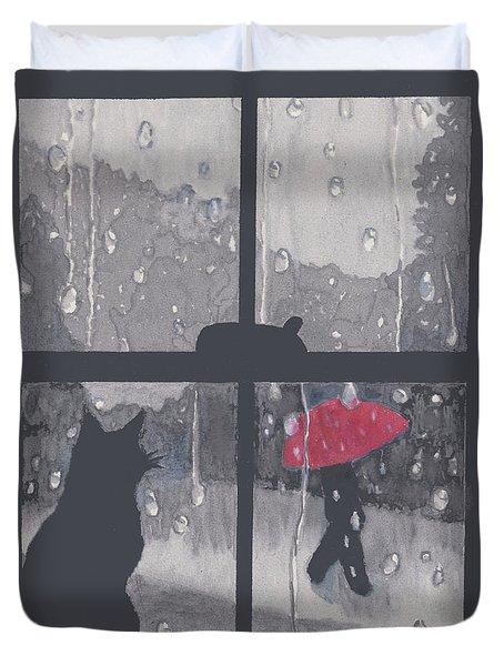 The Red Umbrella Duvet Cover