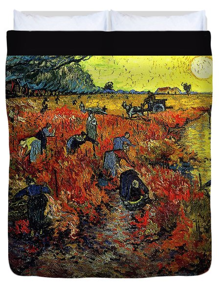 Duvet Cover featuring the painting The Red Vineyard At Arles by Van Gogh