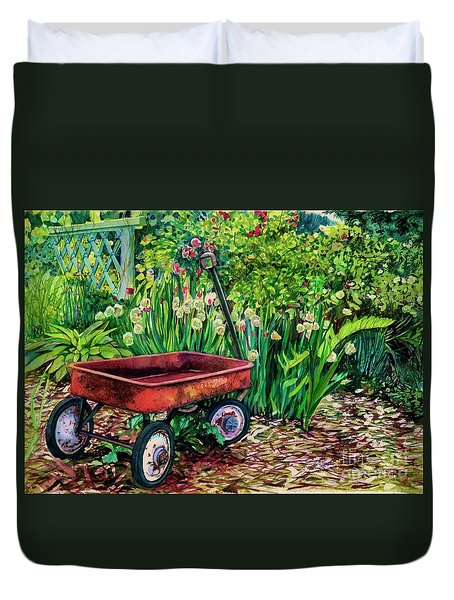 The Red Wagon Duvet Cover