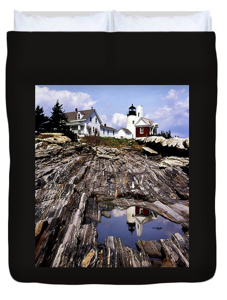 The Reflection At Pemaquid Duvet Cover by Skip Willits