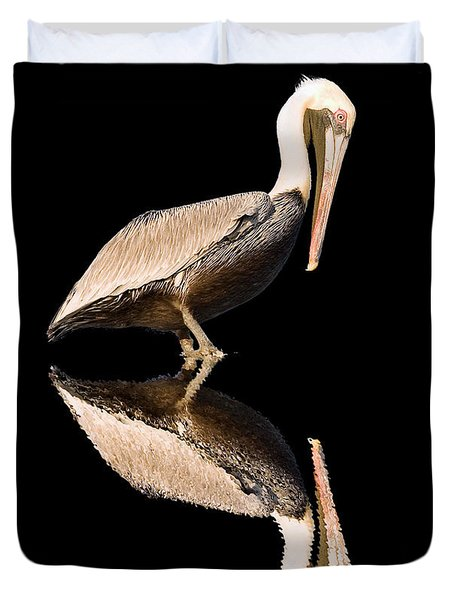 The Reflection Of A Pelican Duvet Cover
