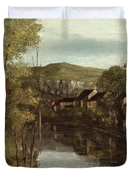 The Reflection Of Ornans Duvet Cover by Gustave Courbet