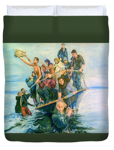 The Refugees Seek The Shore Duvet Cover