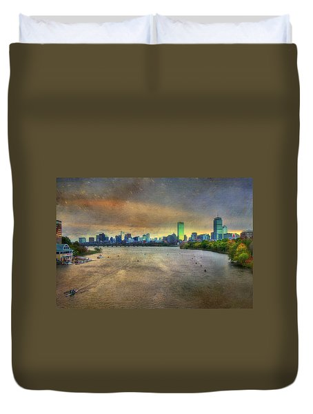 Duvet Cover featuring the photograph The Regatta - Head Of The Charles - Boston by Joann Vitali