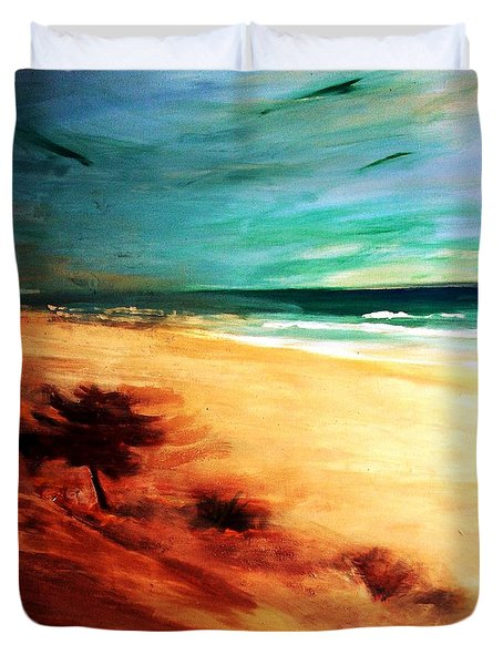 Duvet Cover featuring the painting The Remaining Pine by Winsome Gunning
