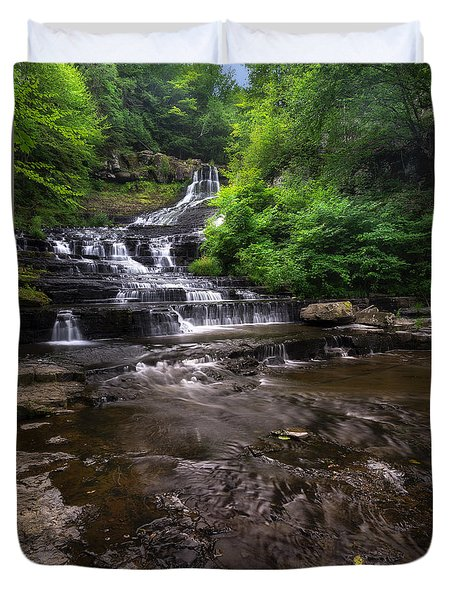Duvet Cover featuring the photograph The Rensselaerville Falls 2 by Mark Papke