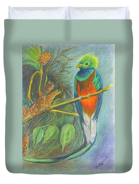 Duvet Cover featuring the drawing The Resplendent Quetzal Bird by Carol Wisniewski