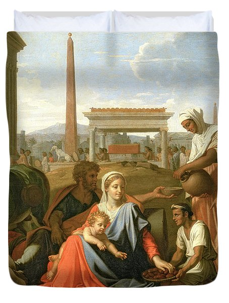 The Rest On The Flight Into Egypt Duvet Cover by Nicolas Poussin
