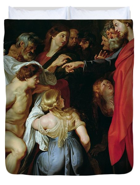 The Resurrection Of Lazarus Duvet Cover by Rubens