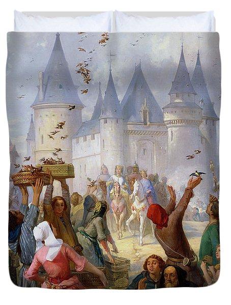 The Return Of Saint Louis Blanche Of Castille To Notre Dame Paris Duvet Cover