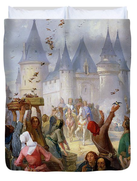 The Return Of Saint Louis Blanche Of Castille To Notre Dame Paris Duvet Cover by Pierre Charles Marquis
