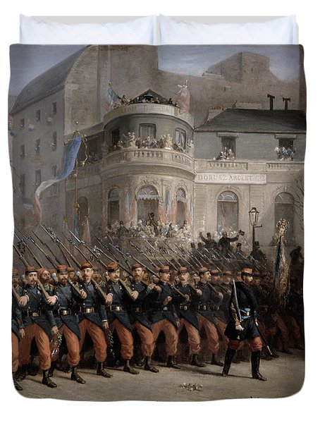 The Return Of The Troops To Paris From The Crimea Duvet Cover by Emmanuel Masse