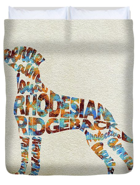 Duvet Cover featuring the painting The Rhodesian Ridgeback Dog Watercolor Painting / Typographic Art by Inspirowl Design