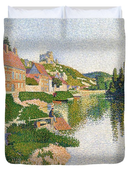 The River Bank Duvet Cover by Paul Signac